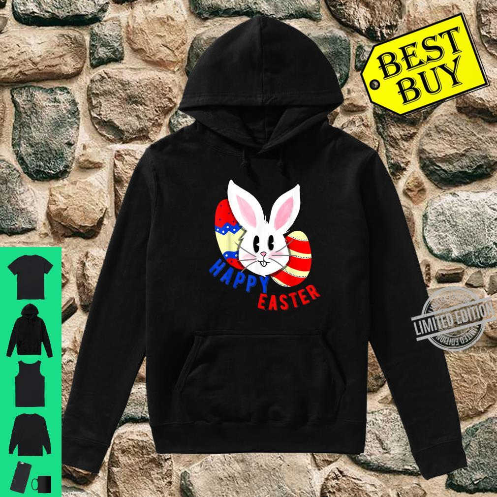 Cute bunny face with easter eggs happy easter for Shirt hoodie