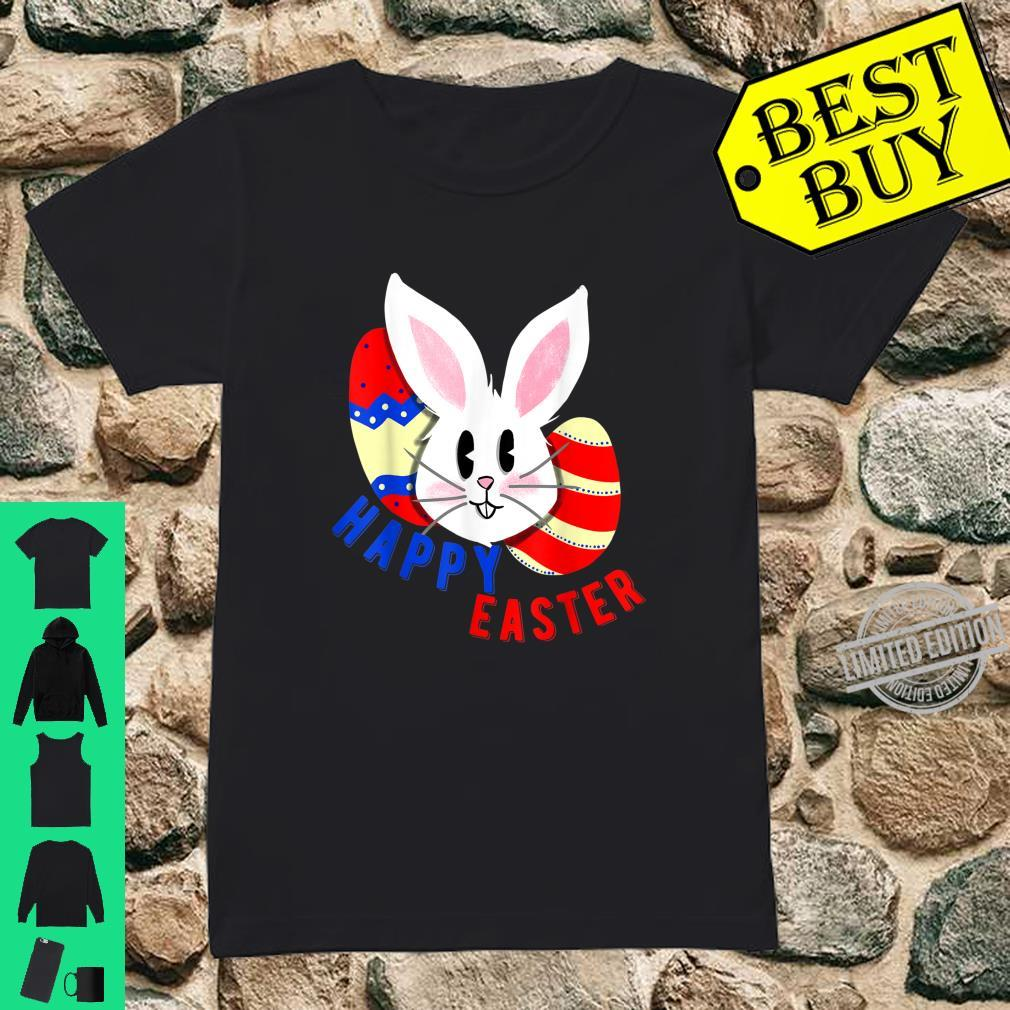 Cute bunny face with easter eggs happy easter for Shirt ladies tee