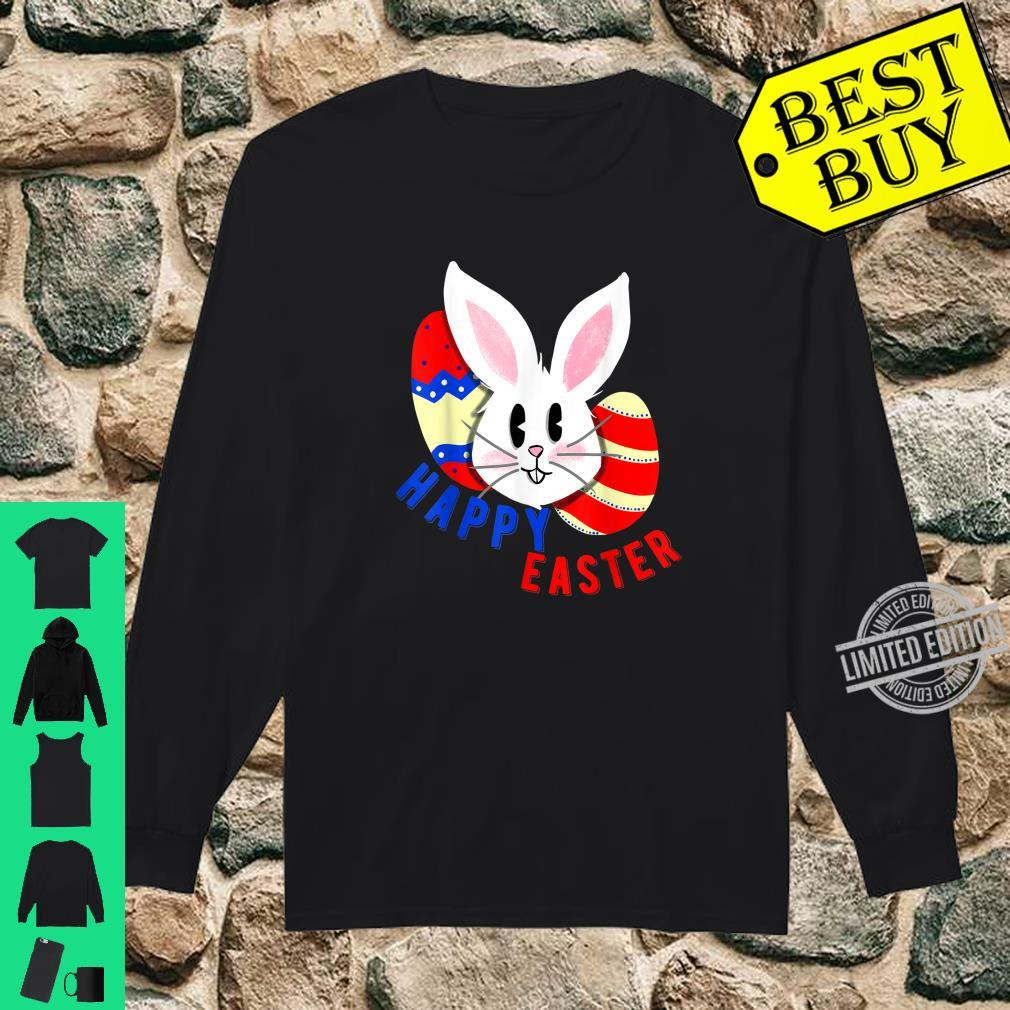 Cute bunny face with easter eggs happy easter for Shirt long sleeved