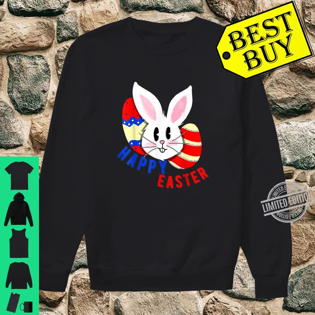 Cute bunny face with easter eggs happy easter for Shirt sweater
