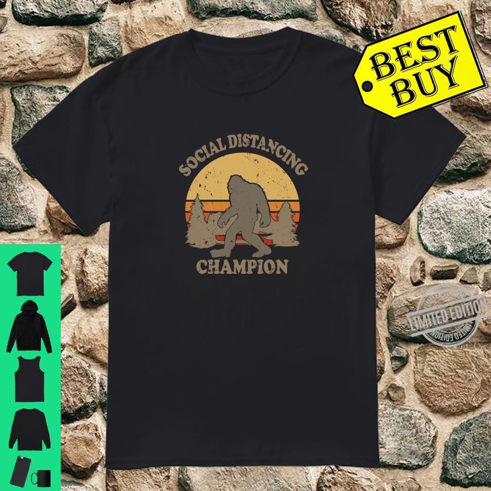 Social Distancing Champion Yeti Sasquatch Retro Sunset Shirt